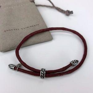 David Yurman Jewelry - David Yurman Bracelet Burgundy Cord and Silver